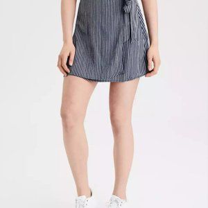 AE High-Waisted Striped Tie Wrap Mini Skirt